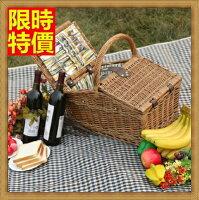 野餐籃打造貴婦風格野餐籃  編織籃子含餐具組合-戶外旅行四人份郊遊用品68e22【獨家進口】【米蘭精品】