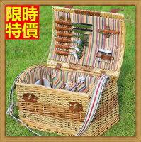 野餐籃打造貴婦風格野餐籃  編織籃子含餐具組合-四人份戶外休閒收納郊遊用品68e33【獨家進口】【米蘭精品】