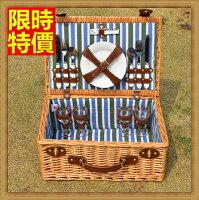 野餐籃打造貴婦風格野餐籃  編織籃子含餐具組合-外出踏青四人份保溫保冷郊遊用品68e48【獨家進口】【米蘭精品】