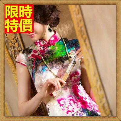 ~旗袍真絲短禮服~唐裝精美花色改良式 連身裙68p13~ ~~米蘭 ~