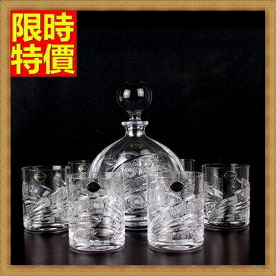 ★酒具套組套組含酒瓶+酒杯-玻璃瓶高貴水晶雕花威士忌7件套酒具用品68t28【獨家進口】【米蘭精品】 1