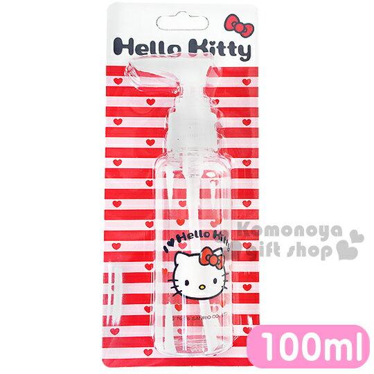 〔小禮堂〕Hello Kitty 按壓式空瓶《透明.大臉.愛心.100ml》可自由補裝內容物