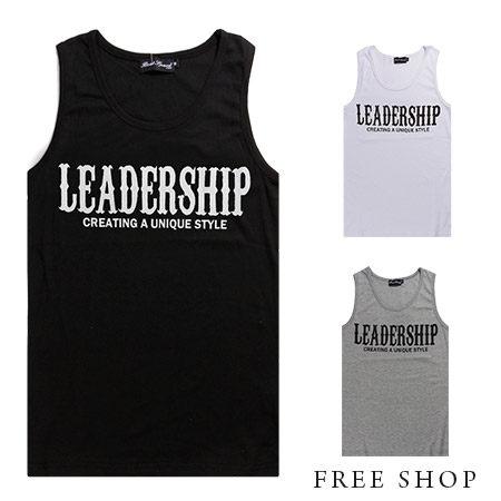 Free Shop【QJFJ0655】歐美LEADERSHIP哥德字樣印花極簡設計彈性棉質背心‧二色MIT 台灣製