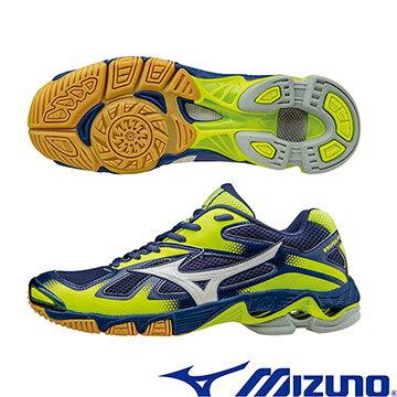 V1GA166002(丈青X銀白X黃)WAVE BOLT 5 高避震排球鞋 A~美津濃MI