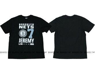 Shoestw【8660258-003】NBA T恤 布魯克林 籃網隊 7號 JEREMY LIN 黑色 短袖棉T