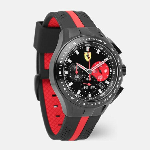 美國百分百【全新真品】FERRARI法拉利義大利賽車不鏽鋼手錶橡膠錶帶三眼0830023黑紅I911