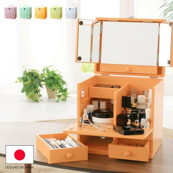 快樂生活網:日本設計大容量馬卡龍多色帶化妝鏡隔層手提化妝箱《YV8393》快樂生活網