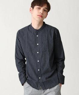 府綢襯衫直條紋深藍