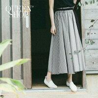 Queen Shop【03020358】腰鬆緊黑白拼接格紋長裙 S/M*預購*-Queen Shop-女裝特惠商品