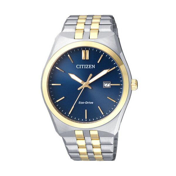 CITIZEN星辰BM7334-66L雙色藍金電波光動能男錶/藍面40mm