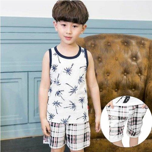 中大童短袖套裝背心上衣T恤+七分褲寶寶童裝JP6011-1好娃娃