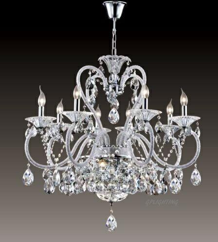 水晶蠟燭吊燈 E14 * 8 (寬80公分)