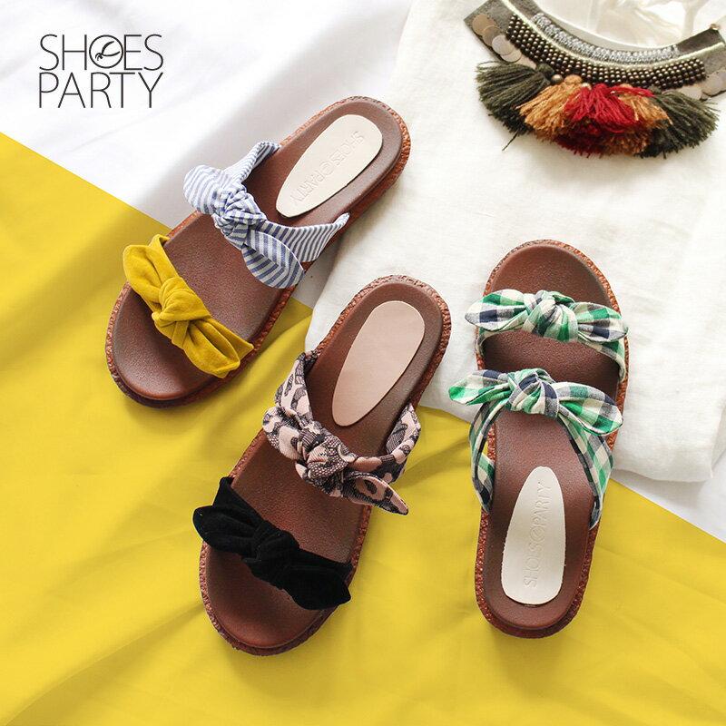 【S2-18707F】Simple+雙蝴蝶結漢堡底拖鞋_Shoes Party 0