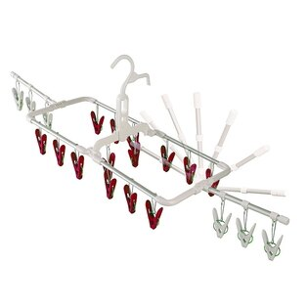 日本創意生活雜貨館:日本AISEN通風機能2段式20夾鋁合金曬衣架(紅色曬夾)