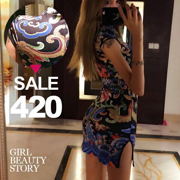 SISI【D8006】復古中國風龍騰印花無袖顯曲線包臀開叉改良式旗袍連身裙洋裝