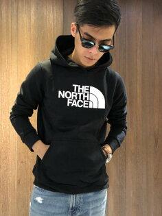 美國百分百【TheNorthFace】帽T連帽TNF上衣北臉長袖厚綿男衣黑色白字B955
