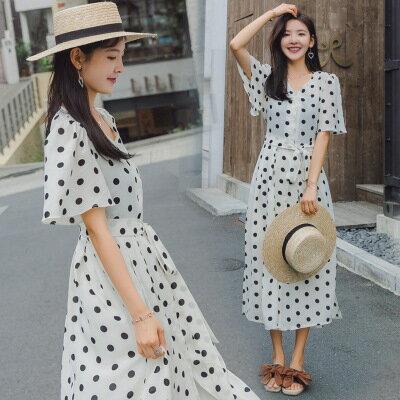 韓系女裝復古波點繫帶短袖開叉A字裙連身裙洋裝樂天時尚館。預購