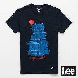 【短T單件390】 Lee 短袖T恤 藍色3D立體文字印刷 -男款(深藍色)
