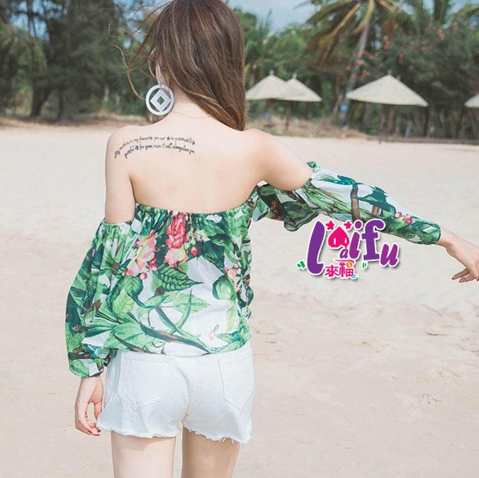 罩衫來福,V293露肩露肚綠光短版罩衫可搭泳衣正品,單上衣售價550元