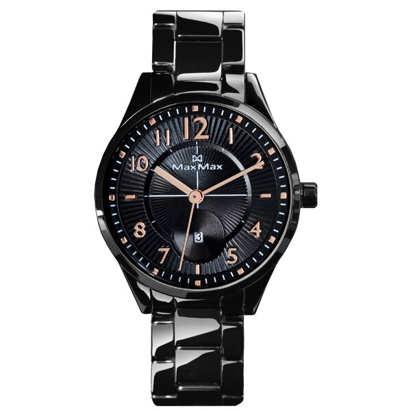 Max Max MAS7006-2經典時尚黑金陶瓷腕錶/黑面35mm