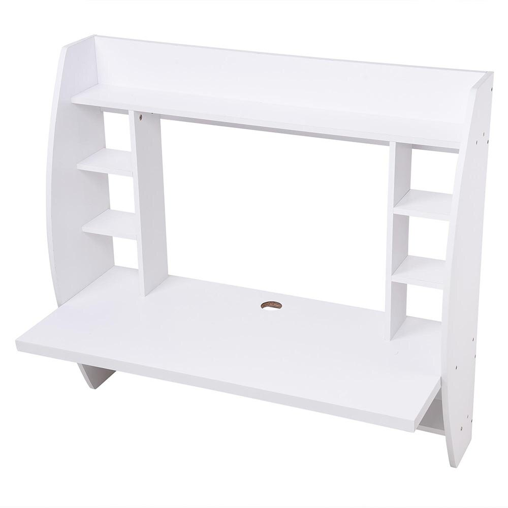 Wall Mounted Floating Computer Desk with Storage Shelves Laptop Home Office Furniture Work White 3