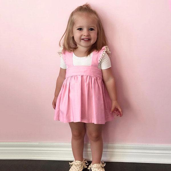 ins 粉紅 高腰 吊帶裙 飛袖 荷葉邊 木耳邊 洋裝 短裙 背心裙 可愛 小洋裝 蕾絲 ANNA S.