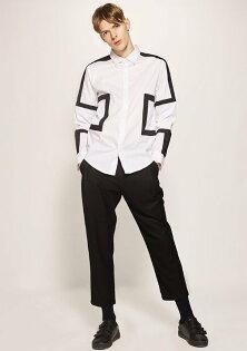FINDSENSE歐美設計幾何拼接皮革襯衫方領拼接男高檔襯衫