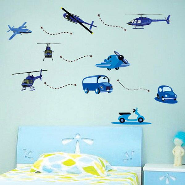 BO雜貨【YV0666】DIY時尚裝飾組合可移動壁貼 牆貼 壁貼 創意壁貼 飛機車車JM8200