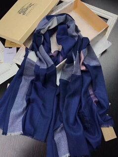 Topshop:國外Outlet代購過季Burberry圍巾經典款8502格子圍巾百搭圍巾披肩保暖圍脖寶藍