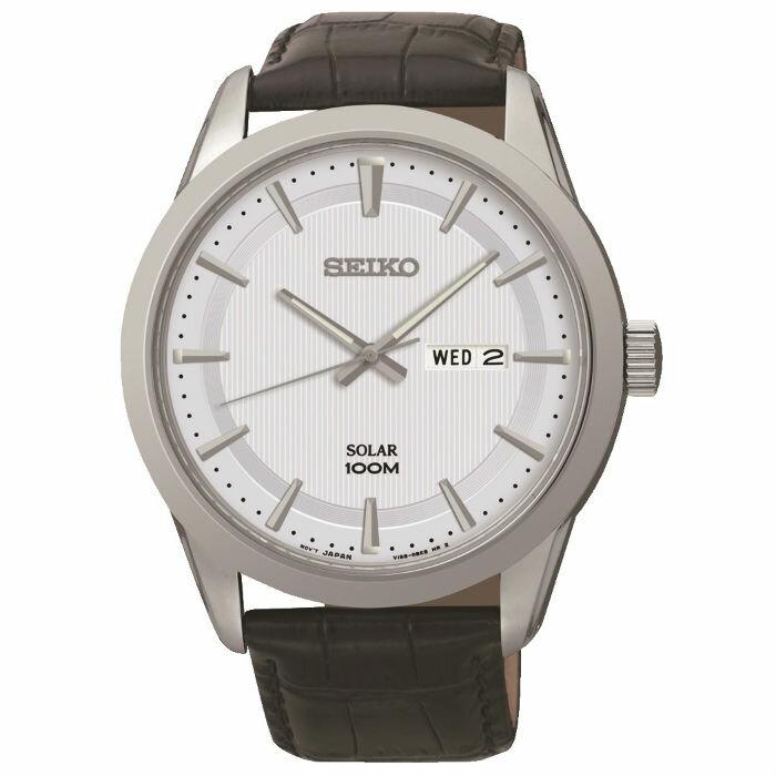 Seiko V158-0AS0W(SNE359P2)大三針太陽能簡約腕錶/白面43.2mm