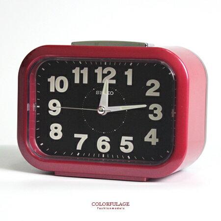 SEIKO精工鬧鐘 圓弧長方型紅色大聲公鬧鐘 滑動式秒針 夜光功能 柒彩年代【NV1755】原廠公司貨