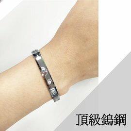 (1111元)GAMMA頂級時尚鎢鋼能量手鍊 / 手環 鑲鋯鑽限量款女版 金屬鍺粒 / 磁石 / 負離子 健康手鍊101 - 限時優惠好康折扣
