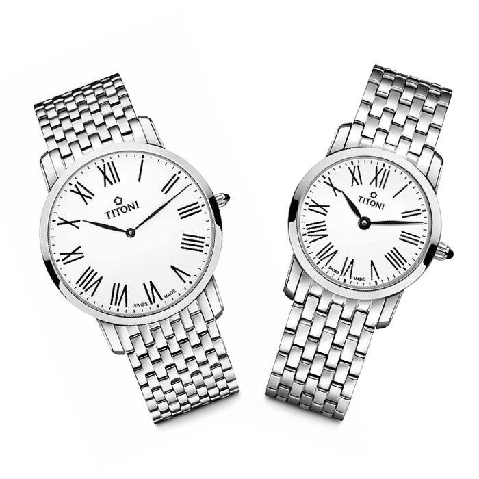 TITONI瑞士梅花錶 纖薄系列 TQ52918S-584+TQ42918S-584 簡約金屬時尚腕錶/銀 38+24mm
