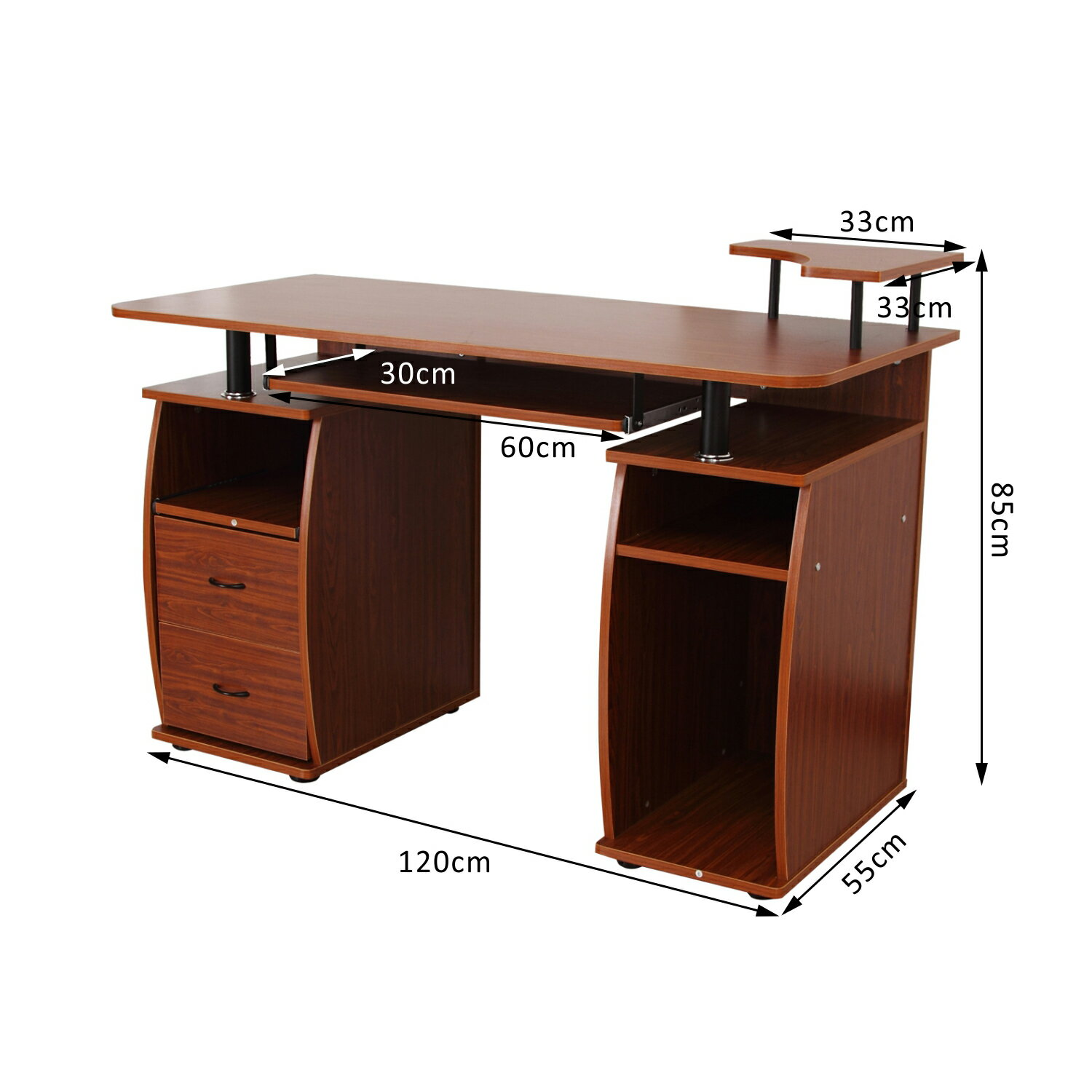 Homcom Home Office Dorm Room Computer Desk With Keyboard Tray Brown Wood 2