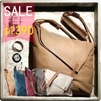 《全店399免運》PocoPlus手工牛皮背帶帆布包 側背包 斜背包 攜書袋 簡約風 無印良品風 B018