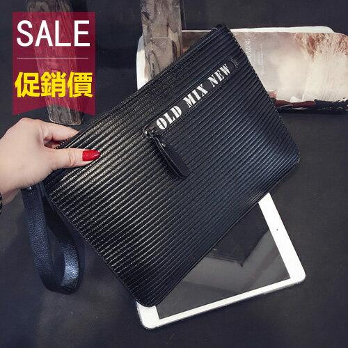 <br/><br/>  PocoPlus 條紋圖案韓版新款手抓包 男女時尚文件手拿包 商務文件包iPad包潮 B1180<br/><br/>