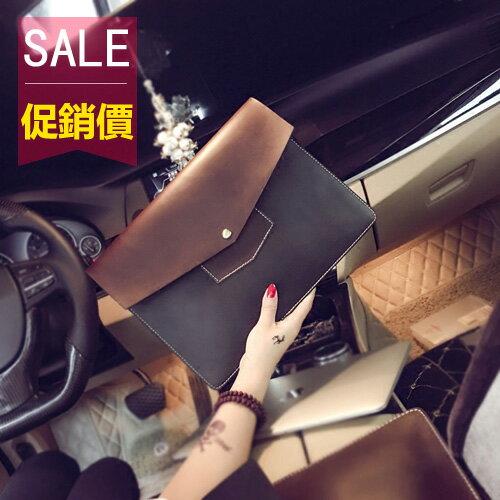 PocoPlus 新款韓版男女手拿包瘋馬PU皮手抓包復古手包手機包定型手包IPAD包 B1200