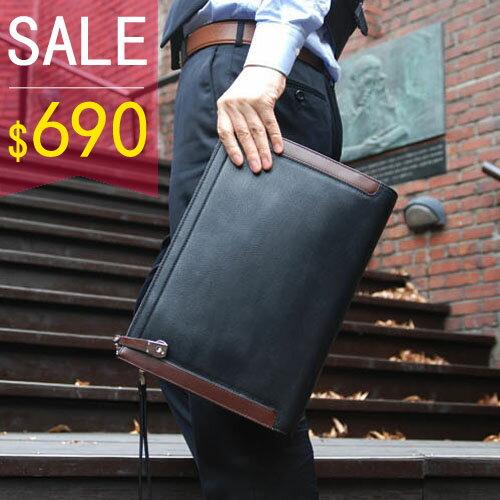 PocoPlus 韓版信封包 素面手拿包 時尚優質皮革 文件包 手抓包 公事包【B124】