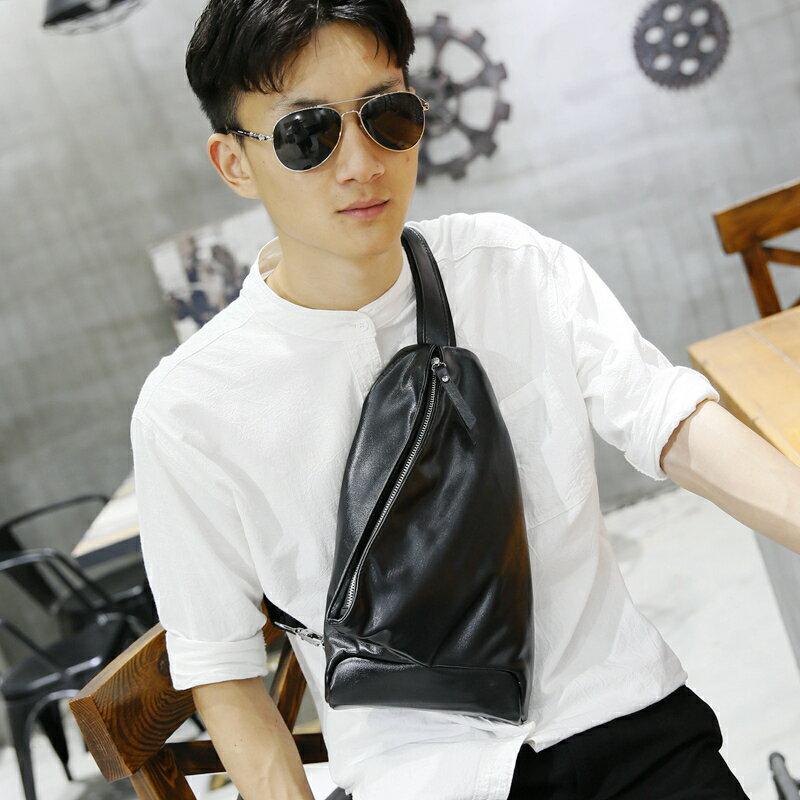 <br/><br/> PocoPlus 新款韓版男包 PU胸包單肩包後背包潮流小挎包 B1259<br/><br/>