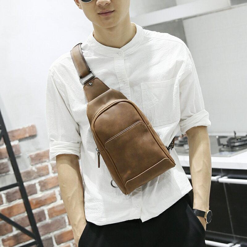 PocoPlus 胸包男 潮瘋馬腰包休閒包包背包男士單肩包斜挎包男包 B1261