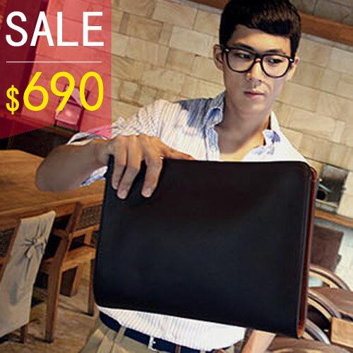 PocoPlus 韓版黑色手拿包 拉鍊式開合 黑咖啡色 公事包 手抓包【B135】