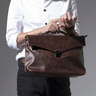 《全店399免運》PocoPlus 韓系公事包 復古包 電腦包 瘋馬皮紋 跨肩包 高雅設計【B165】