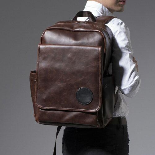 PocoPlus 韓系大後背包 瘋馬皮紋 電腦包 14吋電腦後背包【B180】