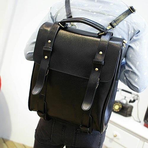 《全店399免運》PocoPlus 韓系後包 2015新款 POTER韓版後背包 書包 定型款 輕皮紋 雙肩背包李敏鋯【B260】
