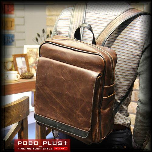 PocoPlus 後背包 旅行包 瘋馬皮紋包 電腦包 文件包 公事包 正韓直達 潮包 側背