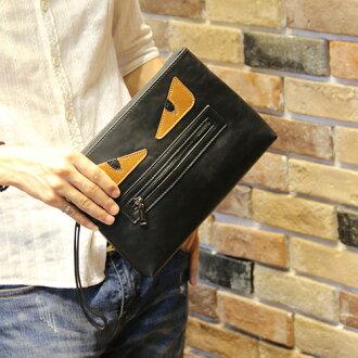 《全店399免運》PocoPlus 正韓直達 怪獸眼 卡通款 手拿包 把手信封包 手機包 文件包 潮流包【B465】