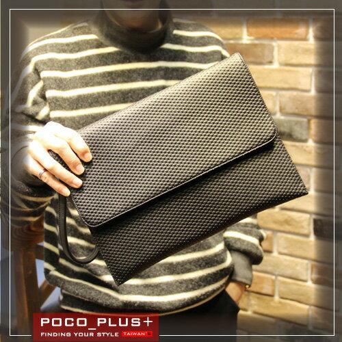 PocoPlus 信封包 手拿包 手機包 皮質柔軟 文件包 潮流款包 手提包~B491~
