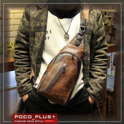 PocoPlus 胸前包 單車包 瘋馬皮紋 肩背包 側背包 單肩包 潮流款包【B501】