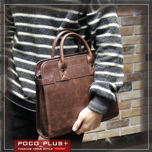 PocoPlus 醫生包風手提包 手拿包 硬挺公文包 拼接公事包 電腦包 ~B507~