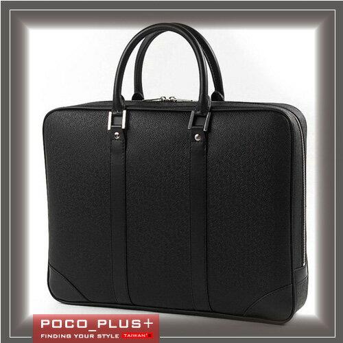 《全店399免運》PocoPlus 無印簡約公事包 棕色黑色 瘋馬皮紋 手提包硬挺公文包 電腦包 【B509】